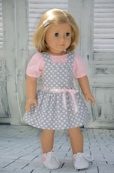 American Girl Doll Blouse with Overall Skirt .