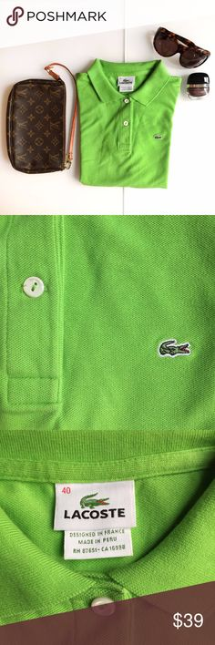 """Lacoste Polo Shirt - 2 button - Green - Size 40 Stylish green Lacoste® polo shirt. Size 40 (size 8, but fits more like a size 4) Classic Fit. Cotton piqué creates a flattering feminine silhouette. Signature Croc appliqué at chest. Two-button placket. Short sleeves. Rib-knit collar and cuffs. 94% cotton, 6% elastane 22"""" length Machine wash warm Authentic Devanlay tag on the inside tag I am also selling the Tom Ford sunglasses which are brand new.  Message me for info. All items come from an…"""
