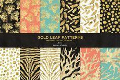 Organic Gold Leaf Digital Patterns by Blixa 6 Studios on Creative Market
