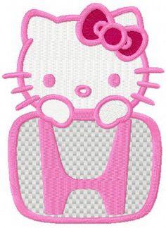 Hello Kitty Honda logo machine embroidery design