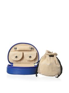 Rowallan of Scotland Meg Jewlery Keep, Mariner Blue Adorable design provides maximum storage; full-grain leather exterior with sueded interior; features a drawstring jewelry bag attached with hook-and-loop closure, two snapped, gusseted pockets and a padded, snapped ring bar StorageWomen #Home