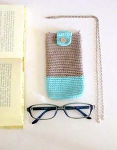 Crochet eyeglass case phone case with detachable chain by sidirom