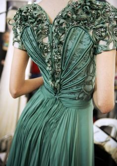 Art nouveau inspired emerald dress.