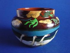 A lovely little Intarsio fern pot or jardini re decorated with a frieze of geese in a landscape framed with a border of buttercups A classic Shape Patterns, Ferns, Pottery Art, China, Shapes, Landscape, Frame, Prints, Design