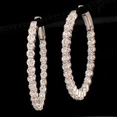 Shop 18KW 2.99ctw SI Diamond Round Inside Out Earrings and other jewelry, art, coins, rugs and real estate at www.aantv.com