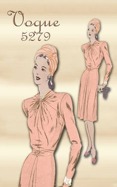 Sewing Pattern 1940s Dress Vogue 5379 by FloradoraPresents on Etsy