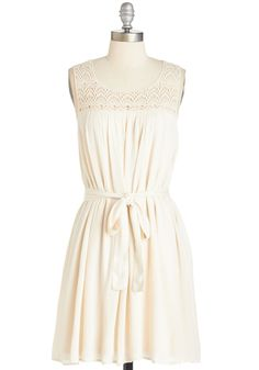 Spring Your Praises Dress. Add stylish harmony to your day by sporting this charming ivory frock. #cream #modcloth