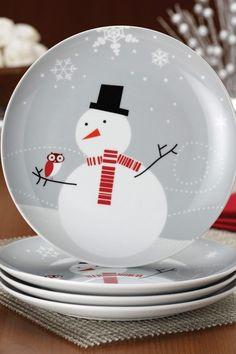 Rachael Ray Little Hoot \u0026 Snowman Dessert Plates - Set of 4 - Grey by Christmas & Snowman Dinner Plates Set of 4 | Christmas | Pinterest | Dinner ...