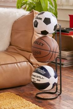 Ball Stand Display Rack Holder Basketball Football Soccer Ball Support Base P*BD