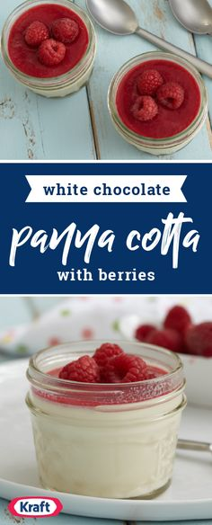 White Chocolate-Panna Cotta with Berries – Try out a new dessert recipe tonight! This delicious combination of white chocolate and raspberry flavor makes this homemade treat such a hit with your friends and family.