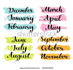 Handwritten months of the year: December, January, February, March, April, May, June, July, August, September, October, November. Calligraphy words for calendars and organizers.
