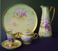Violet Clusters Tea Pot by Pickard artist Nessy from southernclassics on Ruby Lane