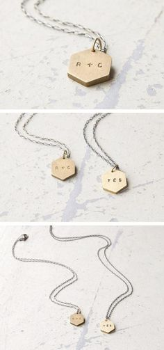 Modern, initial-stamped pendants for your sweetheart, favorite sibling, or bff. #etsyjewelry