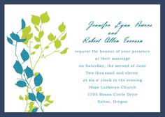 Blue and Green Branch Layered Wedding cards INFC004