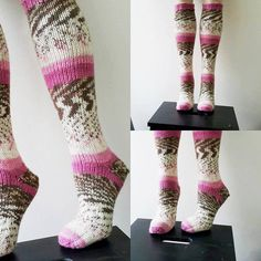 Pink Hand knit knee socks. House knee socks. Woman by NesrinArt