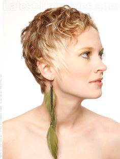 Tousled Pixie Cute Style with Waves Side View