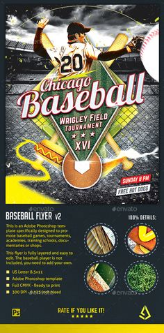 Baseball Nights Flyer - Baseball Tournament Poster Template by StormDesigns This is an Adobe Photoshop baseball flyer template specifically designed for baseball games, baseball tournaments, training, acade