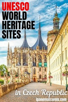 Learn about the most beautiful UNESCO World Heritage Sites in the Czech Republic. There are 13 UNESCO sites outside of Prague. Contains tips on how to visit. Discover Cesky Krumlov, Holasovice, Kutna Hora, Telc, Trebic, and Olomouc, the castles in Ladnice, Valtice, and Kromeriz,   the Litomysl Castle. #unesco #travel #czechia Europe Travel Tips, Travel Destinations, Visit Prague, Prague Travel, Prague Czech Republic, Sabbatical, Places In Europe, European Destination, World Heritage Sites