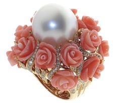 Carved Coral and Pearl Ring: 18k rose gold, 19mm South Sea pearl, 41.782 ct., 42.640 cts. t.w. Italian coral, 2.420 cts. t.w. diamonds.  Brand Jewel Tech