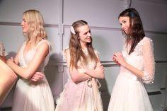 Backstage at the Jenny Packham 2016 Bridal Show :Makeup by @lauramercierusa , Hair by @unitehair , Nails by @essiepolish www.jennypackham.com