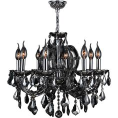 Maria Theresa 8 Light Chrome Finish and Smoke ($370) ❤ liked on Polyvore featuring home, lighting, ceiling lights, grey, incandescent lamp, gray chandelier, colored chandeliers, chrome lamp and light bulb chandelier