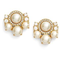 kate spade new york 'pearls of wisdom' cluster stud earrings ($58) ❤ liked on Polyvore featuring jewelry, earrings, white pearl earrings, stud earring set, cluster earrings, 14 karat gold stud earrings and pearl cluster earrings