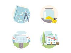 Flat Residential Real Estate Icons set.2 by Dan Dragomir