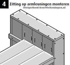 Tuinbank maken voorbeeld op bouwtekening, monteer de loungebank zitting.