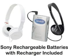 "Sony Walkman Portable Lightweight AM FM Stereo Radio with Belt Clip, Over the Head Stereo Headphones, Studio Monitor Swivel Headphones (White) & Sony Rechargeable Batteries with Recharger by Sony. $39.95. Listen to a wide range of programming music with this AM FM Walkman radio & it's so lightweight you can take it virtually anywhere. Delivering great sound in a small package, this stereo features an AM FM tuner and an easy-to-use tuning knob. One ""AA"" battery provides hours of l..."