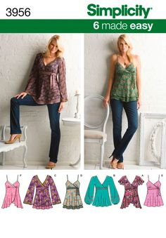 Simplicity 3956 Top Blouse Shirt Women's  sewing pattern  @TimeTravelStyle #timetravelcostumes
