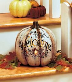 Greet your guests with this Country Lighted Welcome Pumpkin. It has 6 stars that accent the warm welcome, creating a rustic look. The LED light inside simulates