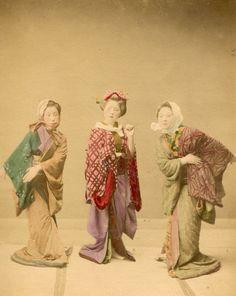 JAPON PORTRAIT Danseuses Demonstration de danse traditionnelle - 1880