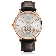 Les Bémonts Automatic Open Heart   Rose PVD with silver dial  Leather strap f287e507cd