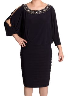Xscape NEW Women's Plus Size Split-Sleeve Embellished Blouson Dress, 16W #Xscape #Blouson #Cocktail