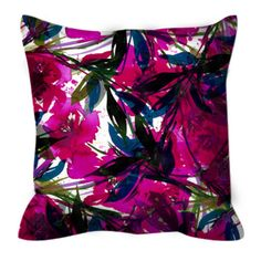 East Urban Home Ebi Emporium Floral Fiesta Floral Painting Outdoor Throw Pillow Size: H x W x D, Color: Magenta/Blue Throw Cushions, Outdoor Throw Pillows, Throw Pillow Covers, Pink Blue, Magenta, Hot Pink, Pink Art, Plum Purple, Color Yellow