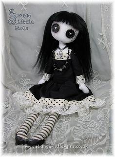15 Inch Gothic Cloth Art Doll With Button Eyes by StrangeLittleGirlsUK
