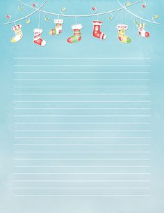 Free printable Christmas stocking stationery for x 11 paper. Available in JPG or PDF format and in lined and unlined versions. Disney Planner, 2018 Planner, Free Printable Stationery, Christmas Stationery, Notebook Paper, Free Christmas Printables, Paper Wallpaper, Christmas Stockings, Christmas Crafts