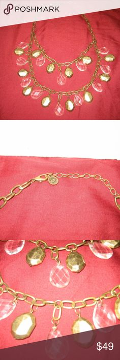 "Vintage GRAZIANO Dual Link Chain Bib Necklace VINTAGE R.J.GRAZIANO CHANDELIER BIB NECKLACE in a pre-owned and used condition.  More details: Crystal teardrop beads and octagon shaped gold-tone metal beads. Signed ""Graziano"". Necklace drop 13"". Link chain extension 3.5"". Lobster claw clasp.   Wear/Flaws: Minor scratches on the metal. Metal aging wear with some dullness on the metal. R.J. Graziano Jewelry Necklaces"