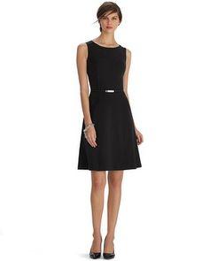 White House   Black Market Sleeveless Seamed Fit and Flare Black Dress #whbm