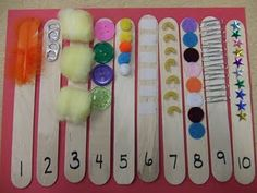 Textured sequence sticks. Use hot glue gun. Have kids write down or draw pictures of their observations - describe in detail how each one feels, compare the materials and see if they can figure out what each is made from (metal, plastic, etc.)