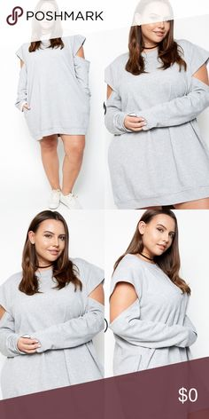 Cut Out Sleeves Dress- HEATHER GREY Sweat Dress with cut out sleeves. 85% Cotton 15% Polyester. Dresses