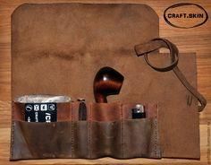 Купить Кисет для курительной трубки 13.0 - коричневый, кисет, трубка, курить, табакерка