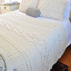 Chunky Cable Knit Blanket in Cream Irish Cabled Wool Hand Knitted Blanket King Size Cable Knit Blankets, Hand Knit Blanket, Small Blankets, Chunky Blanket, Knit Pillow, Merino Wool Blanket, Wool Yarn, King Size Bed Covers, Wood Mirror