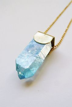 Aqua Aura Crystal Point Gold Necklace OOAK by friedasophie on Etsy