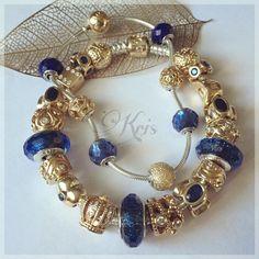 Blue and Gold ❤️ #pandora #pandorausa #pandoralove #mypandora #pandoracharms #pandorabracelet #pandoragold #artofyou