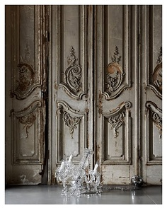 Glass chandelier on floor with ornate rococo style distressed wooden panelled wall -- from John Day LOVE THE DOORS Glass Chandelier, Decor, Doors, Old Doors, French Grey, Gorgeous Doors, Ornate, French Doors, Rococo