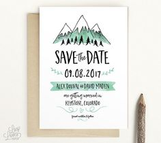 Snowy Mountains Save The Date  - modern rustic save-the-date by Lucy Loves Paper