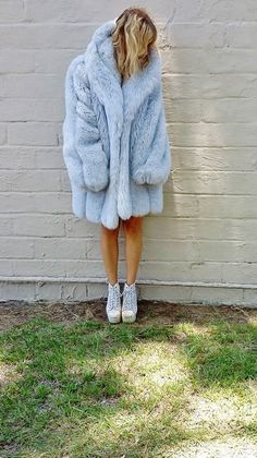 chubby FAUX FUR coat. extra long sleeves. by AlexAndAftonVintedge, $118.00