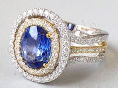 1.30CT NATURAL DIAMOND BLUE SAPPHIRE 14K  YELLOW GOLD ENGAGEMENT RING #SkBridalJewels #Cocktail