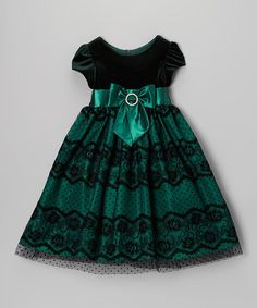 Look at this Jayne Copeland Green Velvet Lace Bow Dress - Toddler & Girls on #zulily today!